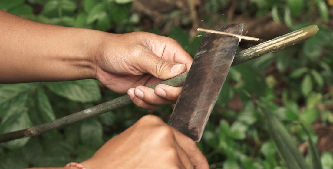 Bambus bei der Verarbeitung